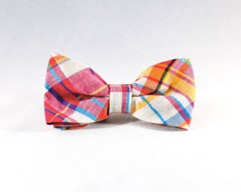 Preppy Pink and Orange Madras Dog Bow Tie