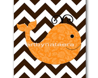 Sea Whale Nursery Art Decor Childrens Wall Art Baby Boy Nursery Art Kids Print Boy Nursery Decor Boy Baby Wall Art Whale Orange Brown