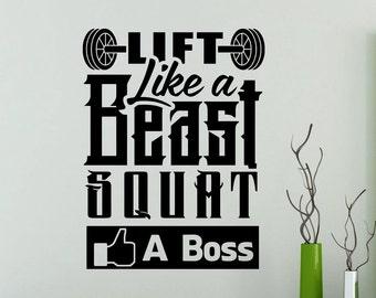 Gym Wall Decal Lift Like A Beast Squat Like A Boss Motivational Words Quote Fitness Vinyl Sticker Home Room Art Decor Sport Mural 145ex