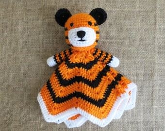 Crochet Tiger Security Blanket baby shower gift newborn blankie tiger cat lion zoo animal blanket toy