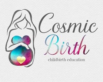 Pregnancy Logo Design , Pregnant Mother Logo , Birth Logo , Doula Logo , Midwife Logo , Watercolour Mother , Galaxy Logo , Universe Logo
