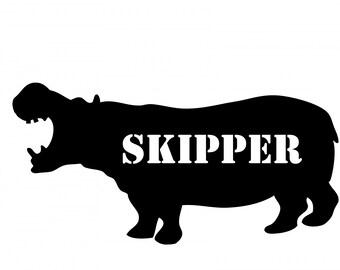 Hippopotamus Skipper Vinyl Decal Sticker