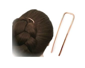 Square Hair Fork Copper Bun Holder Metal Hair Pin Rose Gold Hair Slide U Shaped Hair Pin Gold Hair Pin Long FINE HAIR Accessory