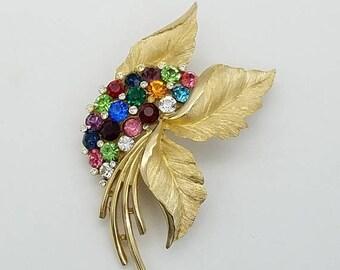 ON SALE Vintage Crown Trifari Brushed Gold Leaf & Multi-Colored Rhinestone Floral Brooch
