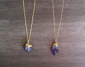 Amethyst Point Necklace, Minimal Necklace, Gold Necklace, February Birthstone, Amethyst Jewelry, Boho, Raw Amethyst Necklace, Crystal Point