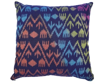 16 x 16 dark blue Ikat cushion cover