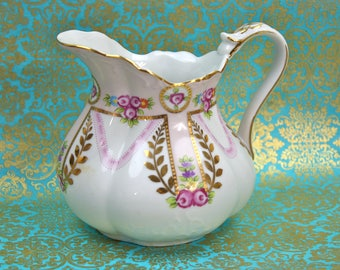 Pink Pitcher Vintage, Serving Pitcher, Shabby Chic Pitcher, Hand Painted Pink Roses Pitcher, Ornate Gold Decoration, c1980s, Vintage China