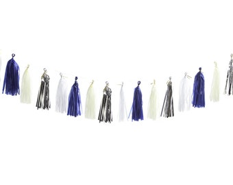 Tissue Tassel Garland (Blue, Cream, White, Silver)