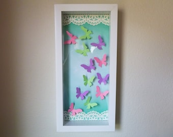 Paper Butterfly Shadow Box Wall Decor