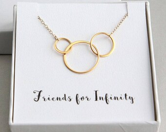 Three Friends Necklace, Friends for Infinity, Gift for Best Friends, Best Friend Necklace, Three Ring Necklace, 3 Gold Rings Necklace