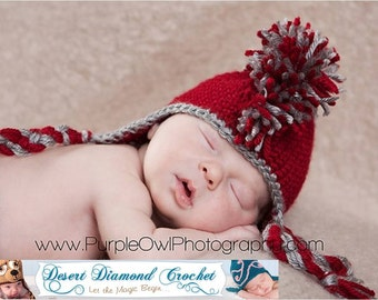 Crochet Pattern 029 - Mohawk Earflap Beanie Hat - All Sizes