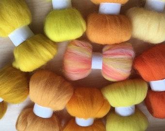 Orange Yellow Merino Roving for Spinning Felting , 10pcs 100g of 100% Merino Wool Roving  , Crafters Gift FREE SHIPPING