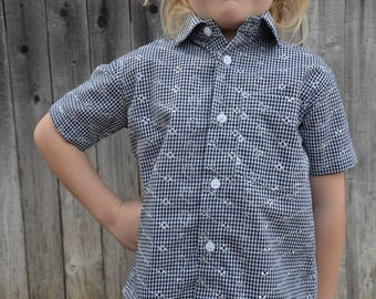Youth Boys Neutral Handmade Button Down Shirt - Black White Plaid Fancy Embroidery - Family Matching - Emerson 3173