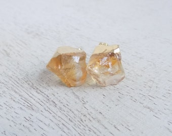 Raw Citrine Earrings, Citrine Stud Earrings, Natural Stone Earrings, Gemstone Earrings, Rustic Earrings, November Birthstone, Gift, G7-825