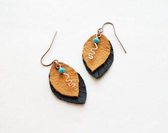 Leather Earrings Leather Boho Earrings Dangles Autumn Earrings Womens Earrings Feather Earrings Boho Jewelry Leather Jewelry Native American