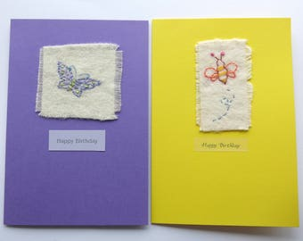 embroidered card -butterfly card-Greeting card -birthday card-card-blank card-Bee card-hand embroidered card-handmade-uk seller-stitched