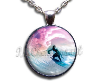 Surfer Glass Dome Pendant or with Chain Link Necklace NL107