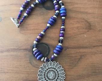 Purple sunshine necklace set
