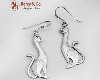 SaLe! sALe! Elegant Cat Dangle Earrings Sterling Silver
