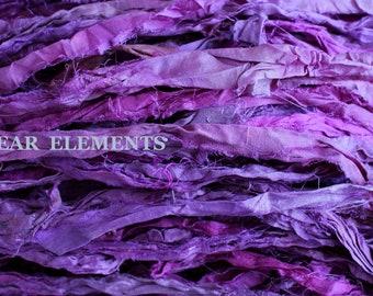 Purple Mix #1, Fair Trade, 5 Yards, Purple Mix Sari Silk, Textile, Yarn, Art Yarn, Ribbon, Silk Fabric, Purple Silk, Artwear Elements, 154