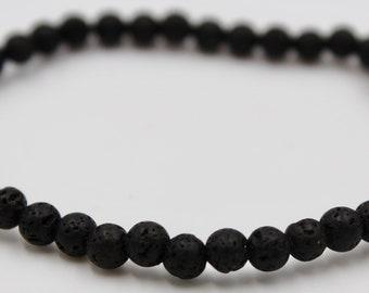 Lava Gemstone Ball Bracelet 4 mm Flexible