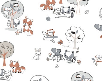 Playful Cuties FLANNEL - Forest Animals White from 3 Wishes Fabric