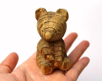 Vintage Wooden Sitting Bear Figurine Handmade Hand Carved Wood Teddy Bear Cub Figure Children's Room Decor