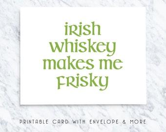 st pats boyfriend card, whiskey frisky card, printable boyfriend card, digital st pats card, digital boyfriend card, boyfriends st pats