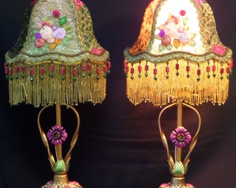 Antique Tole Arts & Crafts Hand Painted Floral Table Lamps Hold Antique Ribbon-Work Flower Sprays Silk Lampshades