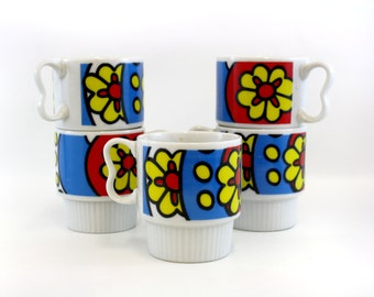 Vintage Mod Primary Color Floral Stacking Mugs, Set of 5 (E6682)