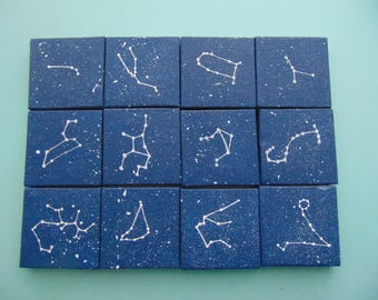 Mini Zodiac Sign Constellations - Acrylic on Canvas