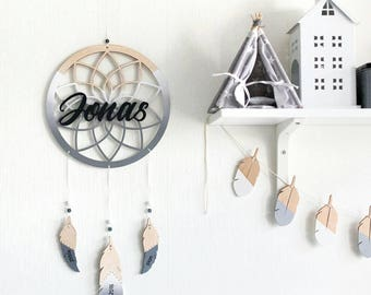 Custom name plague -Personalized sign -Nursery wall decor -Gray nursery -Wooden mobile -Modern dreamcatcher -Personalized gift -Newborn gift