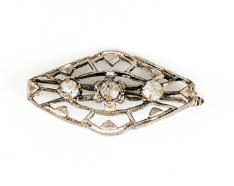 Vintage Silver Brooch Art Deco White Rhinestone Gilded Age Flapper Jewelry 1920s Costume Jewellery Filigree