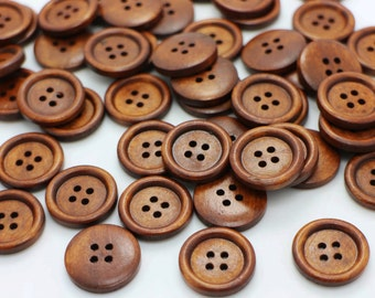 Brown Natural Wood Buttons,  Four Holes Button, Coat Button, Wooden Buttons, Small Edge Button, Baby Button, Children Button, 20mm