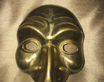 Vintage Brass Mardi Gras Drama Theater Wall Hanging Mask Metal Wall Plaque Face Mask Home Decor