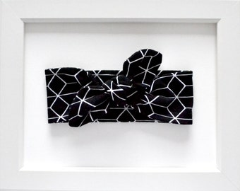 Black Geometric Knotted Headband/Knotted Headband/Infant Headband/Toddler Headband/Baby Headband/Baby Shower Gift