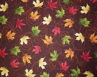 Autumn Leaves Brown (32529-2) Fall Leaves Quilting Fabric by 1 Yard Increments