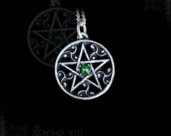 Nordic pentagram pendant with triskelions, pentagram necklace, wica jewelry