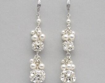 Rhinestone and Pearl Cluster Earrings, Long Pearl Bridal Earrings, Wedding Jewelry for the Bride, Pearl Drop Earrings