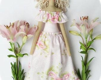 Fabric doll pastel pink dress rag doll handmade cloth doll cute Tilda doll softie plush gift for girls, baby shower, nursery room decor doll