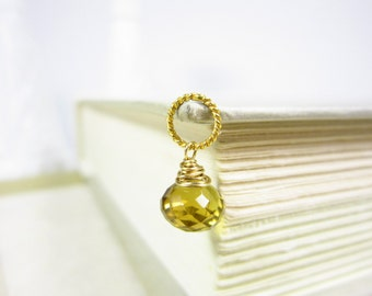 14k Gold Charms - Sterling Silver Charms - Beer Quartz Gemstone Pendant - Wire Wrapped Jewelry Handmade Jewelry - Just Dangles