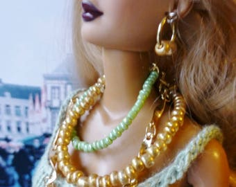 Fashion Doll Jewelry Set Necklace Earrings Gold Chain Green Gold Beads 3 Tier Poppy Parker Model Barbie Silkstone