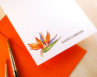 Personalized Stationery, Birds of Paradise, Teacher Gifts, Hand Painted Stationary Set, For the Couple, Monogram Flat Note cards Set of 12