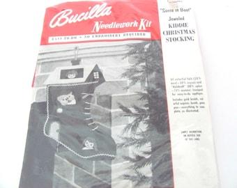 Vintage Christmas Stocking Kit, 1950's Bucilla Jeweled Santa In Boot Kiddie Stocking, Felt Christmas Stocking Kit, 1950's Christmas