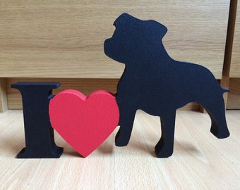 I Love Staffordshire bull terrier plaque
