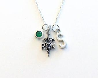 Gift for RN Nurse Jewelry, Silver Nurse's Necklace, Registered Nurse Symbol Charm RN Caduceus Symbol initial birthstone Birthday Present her