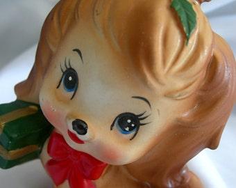 Dog Figurine with Holiday Package - Foil Sticker LEFTON JAPAN - Vintage
