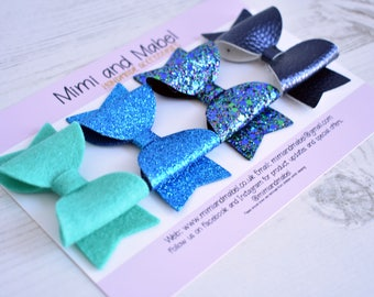Navy hair bow set, blue hair bows, glitter hair bow, sparkly hair bow, toddler hair clips, felt hair bow, small hair clips, baby hair clips