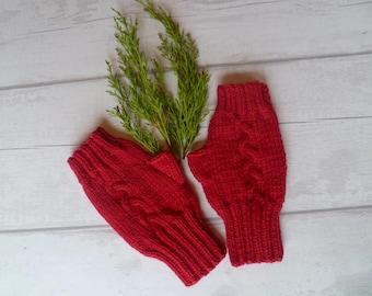 Red Wool Fingerless Gloves Mittens, Women Hand Knit Hand Warmers, Wool Alpaca Knit Fingerless Wrist Warmers, Cable Gloves, Clickclackknits