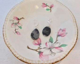 Black stone earrings with silver color ear wire